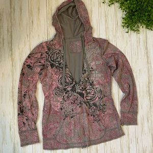Medium 100% cotton gray pink sparkly zip hoodie